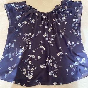 LC Lauren Conrad Blue Floral Short Sleeve Blouse
